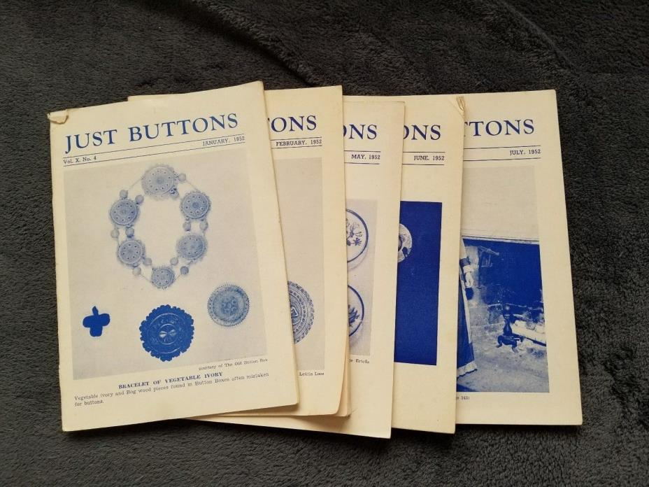 Vintage 1952 Just Buttons Collectors Magazines, 5 issues