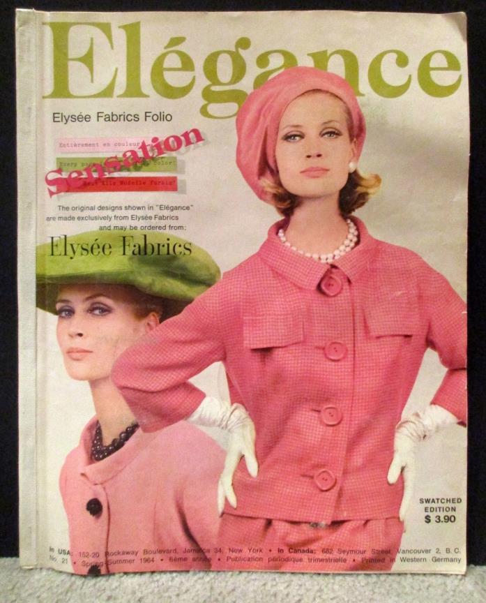 Elegance Magazine 1964 Spring Swatched  # 21 Fashions Models Elysee Fabrics