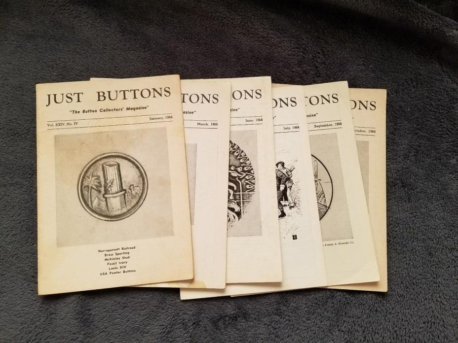 Vintage 1966 Just Buttons Collectors Magazines, 6 issues