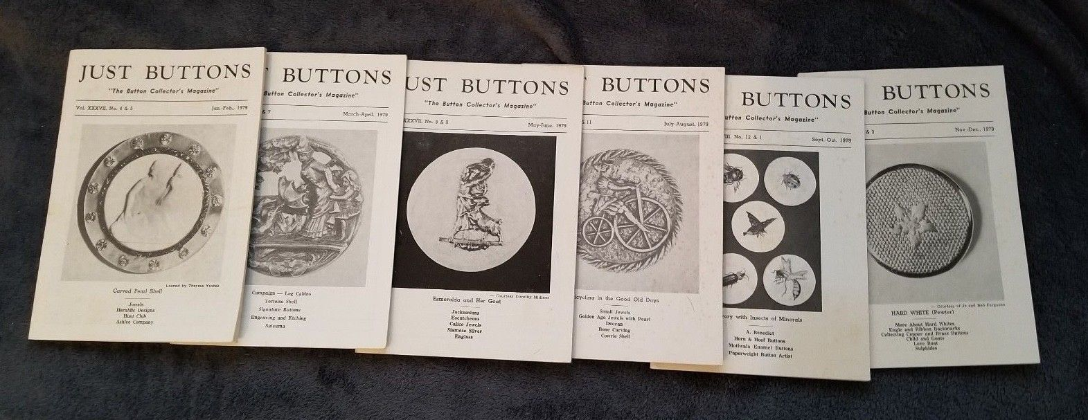 Vintage 1979 Complete Year Just Buttons Collectors Magazines,  6 issues