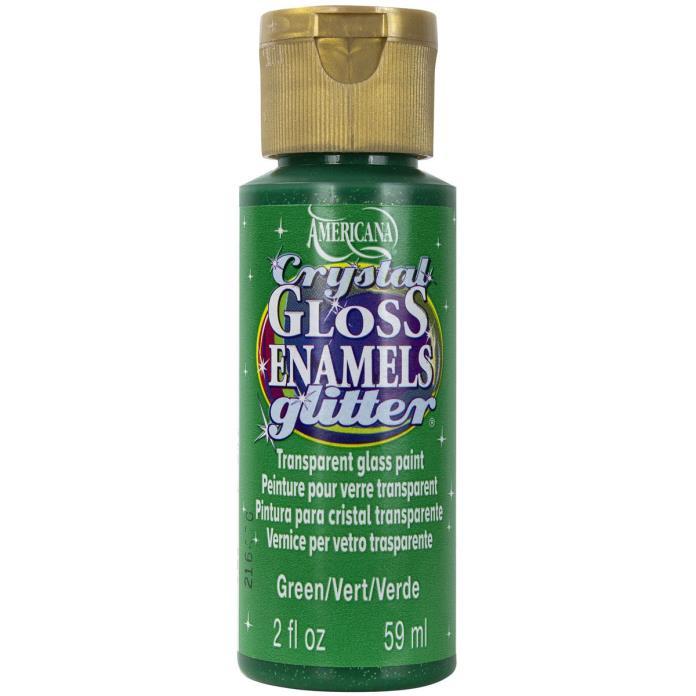 Americana Gloss Enamels Crystal Glitter Acrylic Paint 2oz-Green