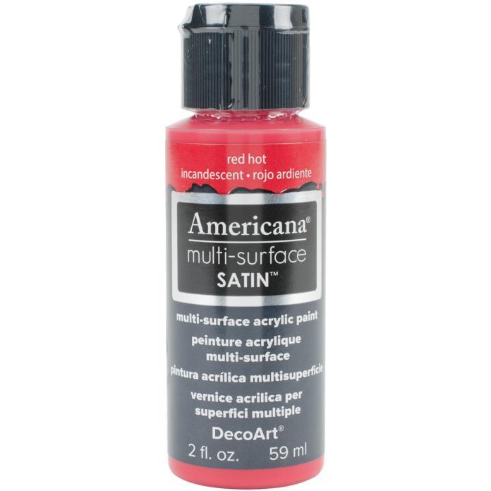 Americana Multi-Surface Satin Acrylic Paint 2oz-Red Hot