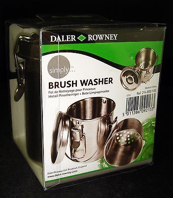 Daler Rowney Stainless Steel Brush Washer Paint Art Supplies NEW clip-on lid