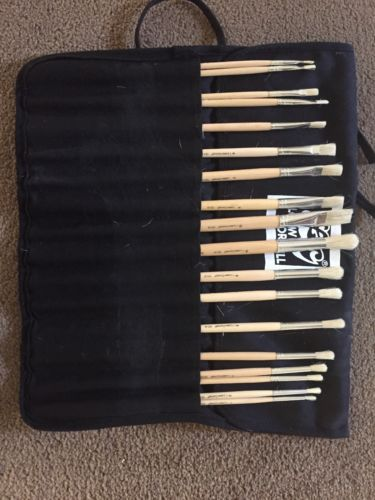 Loew Cornell new 16 flat & round paint brush set in zippered black case
