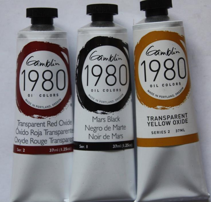 3 Gamblin 1980 Oil Paint- Mars Black, Red & Yellow Oxide -37ml-Series 1 & 2
