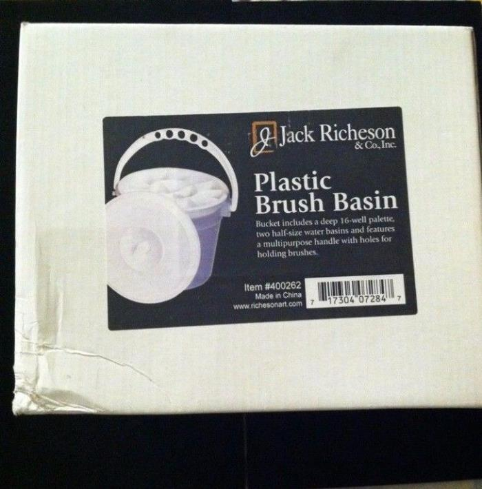 2x Jack Richeson Plastic Paint Brush Basin Bucket Cleaner With  Lid lot