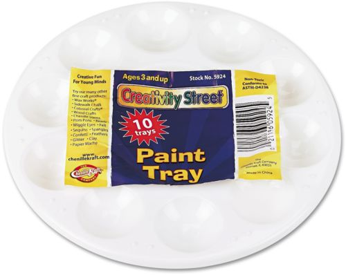 Chenille Kraft Round Plastic Paint Trays For Classroom, White, 10/Pack