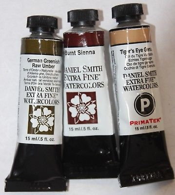 3 DANIEL SMITH Extra Fine Watercolor Paint:15ml TIGERS EYE, UMBER & SIENNA-1&2