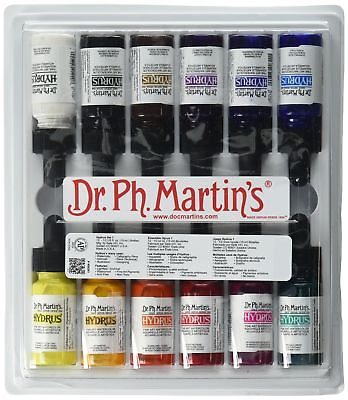 Dr. Ph. Martin's Hydrus Fine Art Watercolor Bottles 0.5 oz Set of 12 (Set 1)