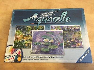 Aquarelle Watercolour 3 Canvasses Monet Theme by Ravensburger NEW