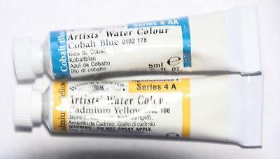 2 Winsor & Newton Watercolor: Series 4- CADMIUM YELLOW & COBALT BLUE