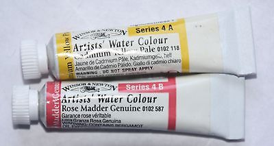2 Winsor & Newton Watercolor: Series 4- CADMIUM YELLOW PALE & ROSE MADDER