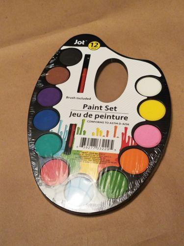 New 12-Color Watercolor Paint Palette Set with Paintbrush
