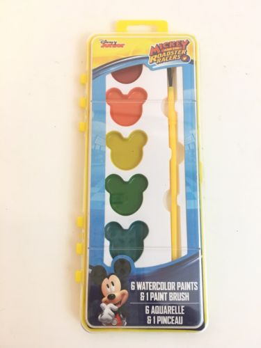 Licensed Disney Junior Mickey & The Roadster  Watercolor Paint Set Brush