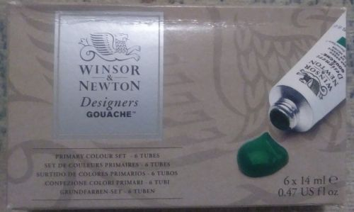 Winsor and Newton Designers Gouache Primary Colors 6 Tube Set new