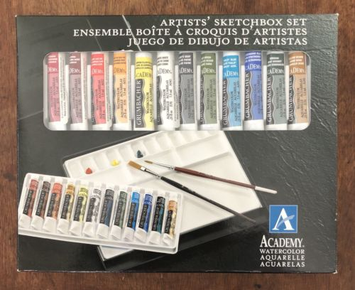 GRUMBACHER Academy Watercolor Artist' Sketchbox Set Model #2012 NEW