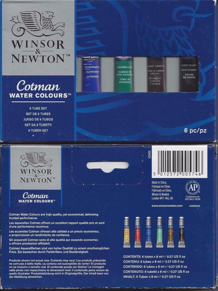 Winsor & Newton Cotman Watercolor Watercolors 6 Color Tube Set x 8 ML
