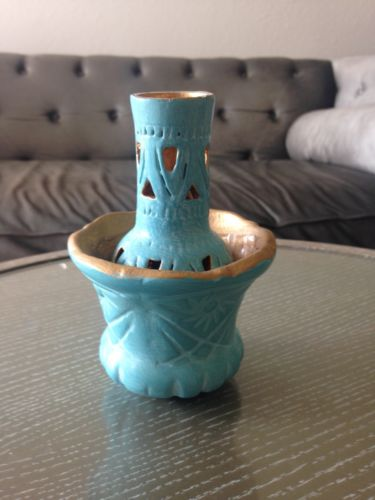 Antique persian Home Decor Gold And Turquoise Blue oven baked clay