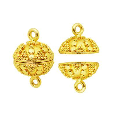 18K Gold Overlay Big Ball Shape Designer Magnetic Clasps CG-502