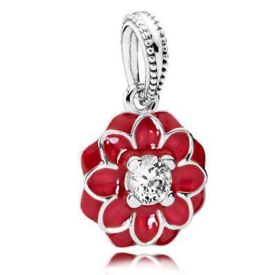 Authentic Pandora New Silver Red Oriental Bloom Clear CZ Charm 791829CZ
