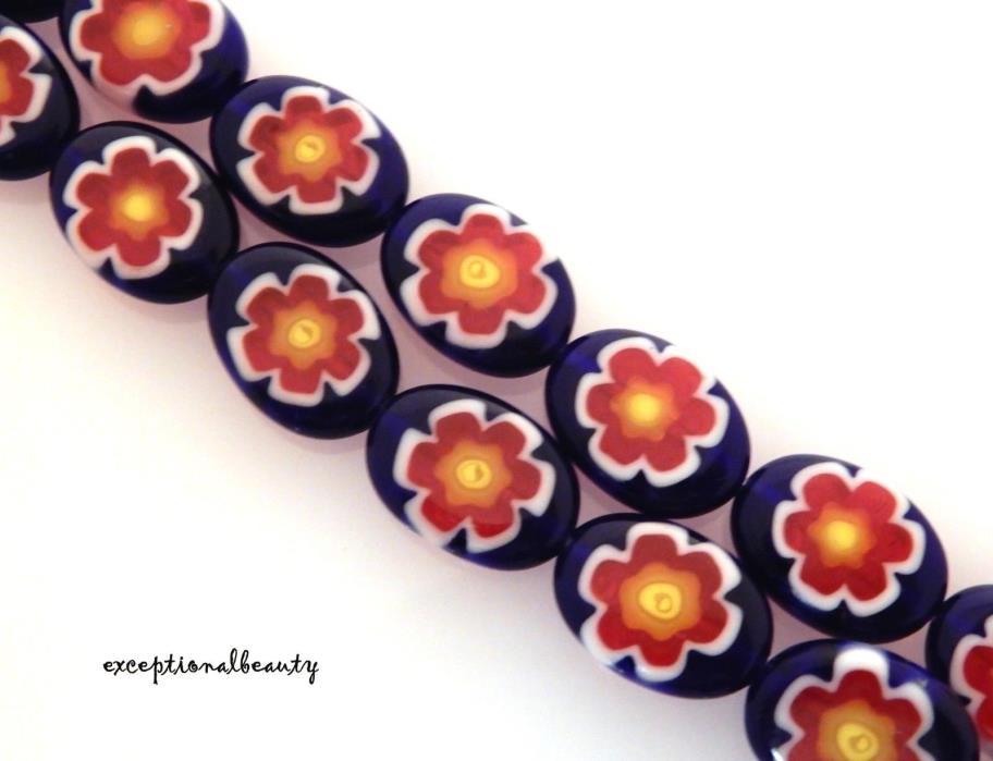 30 Millefiori Chevron Glass 14x10mm Flat Oval Cobalt Blue Red White Flower Beads