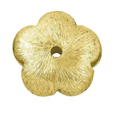 18K Gold Overlay Flower Shape Brushed Bead BG-208-12MM