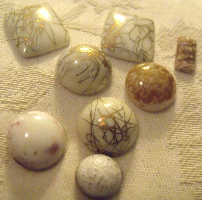 LOVELY LOT WHITE WITH GOLD  VINTAGE GLASS  CABOCHON