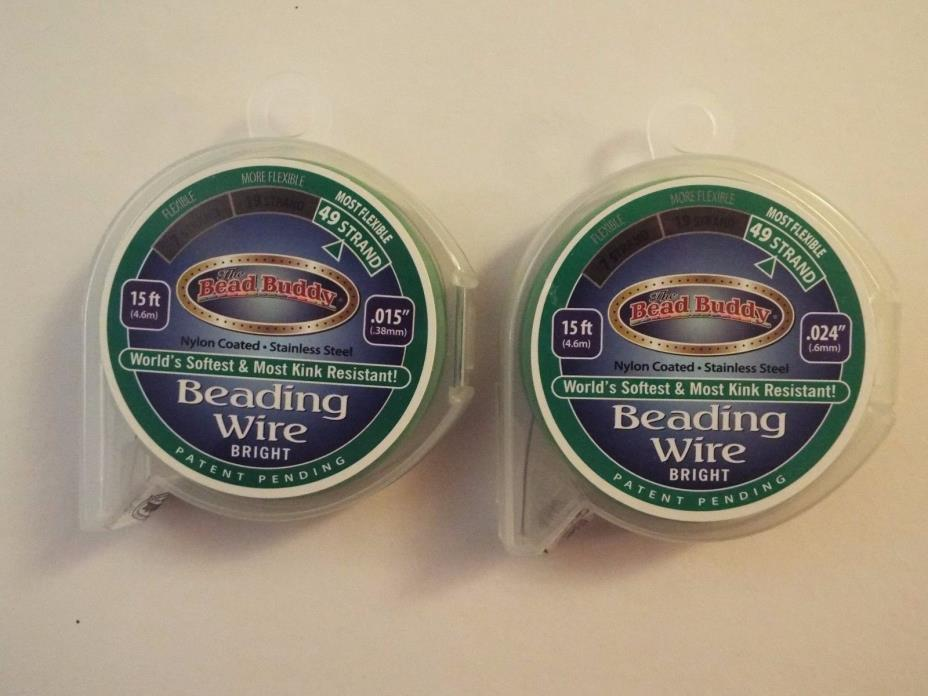 2 NEW-bead buddy 49 strand bead stringing wire-15 ft. each-.015