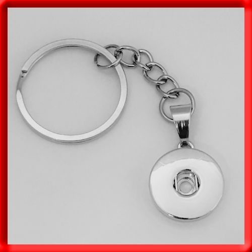(BUY any 4, save 50%) Silver-Tone Snap Button Pendant 30mm Key Chain