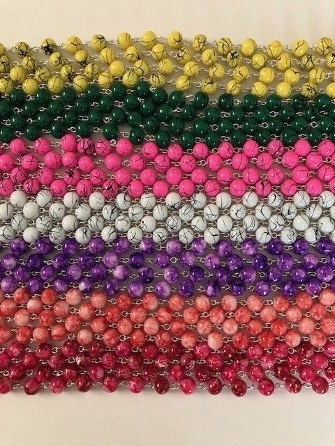 1 YARD (36 INCHES) CHAIN 8MM ROUND GLASS BEADS FOR ROSARY JEWELRY DECOR NEW