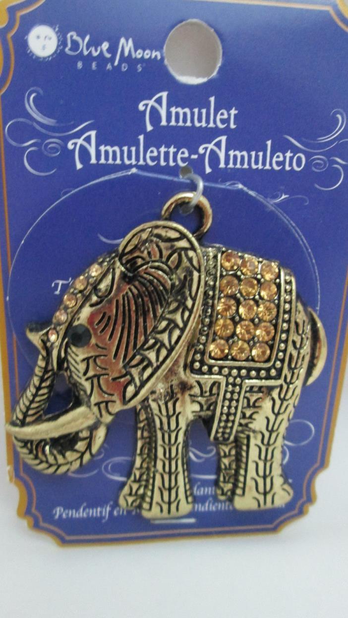 Blue Moon Amulet Metal Pendant Charm - Antique Gold Toned Elephant