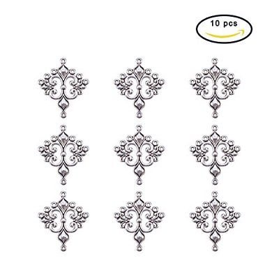 Pandahall 10 Pcs Antique Silver Tibetan Rhombus Chandelier Component Links for
