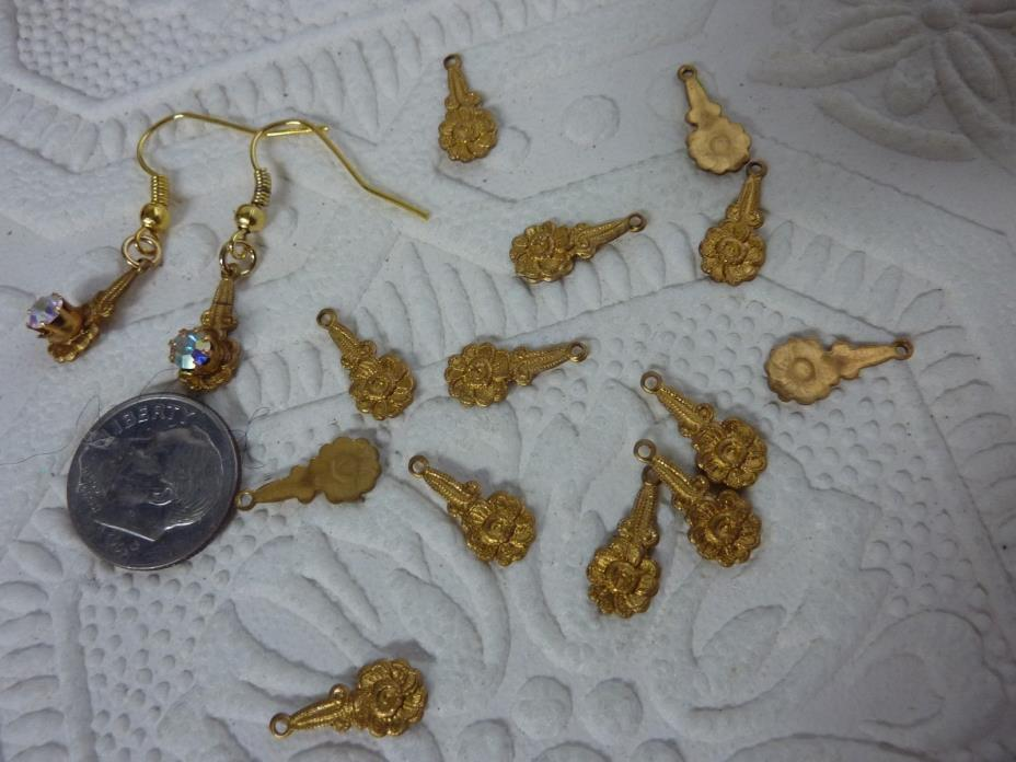 brass casting small flower dangle for earrings A10   for dainty ladies