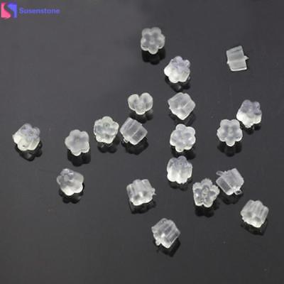 SUSENSTONE 144PCS Clear Rubber Flower Shape Clutch Earring Safety Backs For Earr