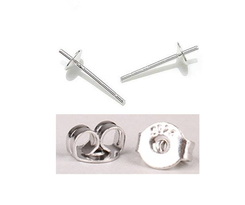 925 Sterling Silver Earring Post + Push Back Stud Jewelry EARRING FINDINGS