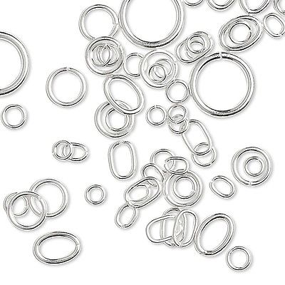 75 Assorted Size Round & Oval Sterling Silver Jumprings Jewelry Ring Findings