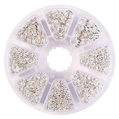 PandaHall Elite About 2800 Pcs Jump Rings Diameter 4-10mm Iron Jewelry Chain Box