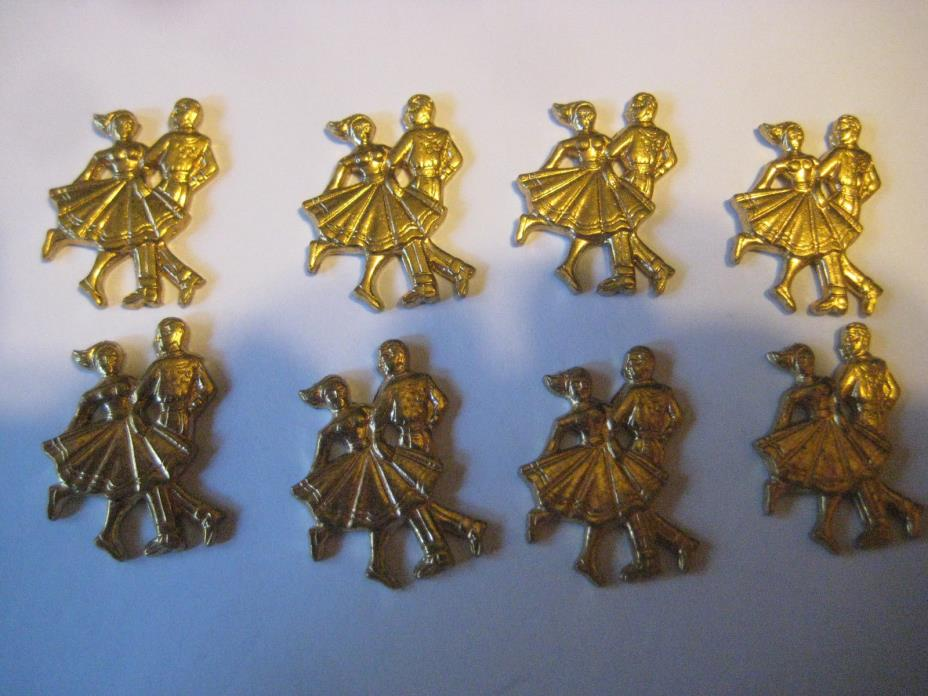 SQUARE DANCING LOT Brass stampings jewelry craft embellishments scrap booking 8