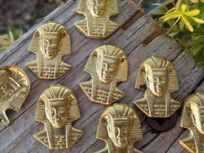 (12) VTG Egyptian Revival Pharaoh Themed Stamped Brass  Metal JEWELRY FINDINGS