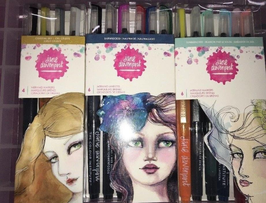 jane davenport mermaid markers-Lot Of 3