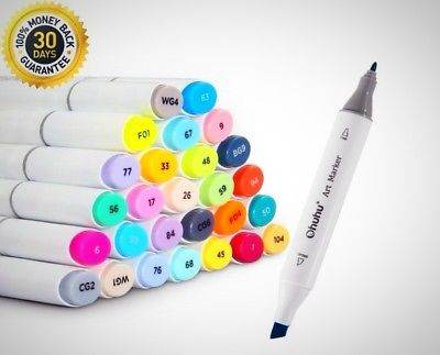 Dual Tip Permanent Marker Pen Art Markers Highlighters Carrying Case Drawing