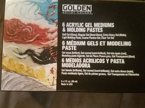 Golden Artiat Colors 6 ACRYLIC GEL MEDIUMS and Molding Pastes