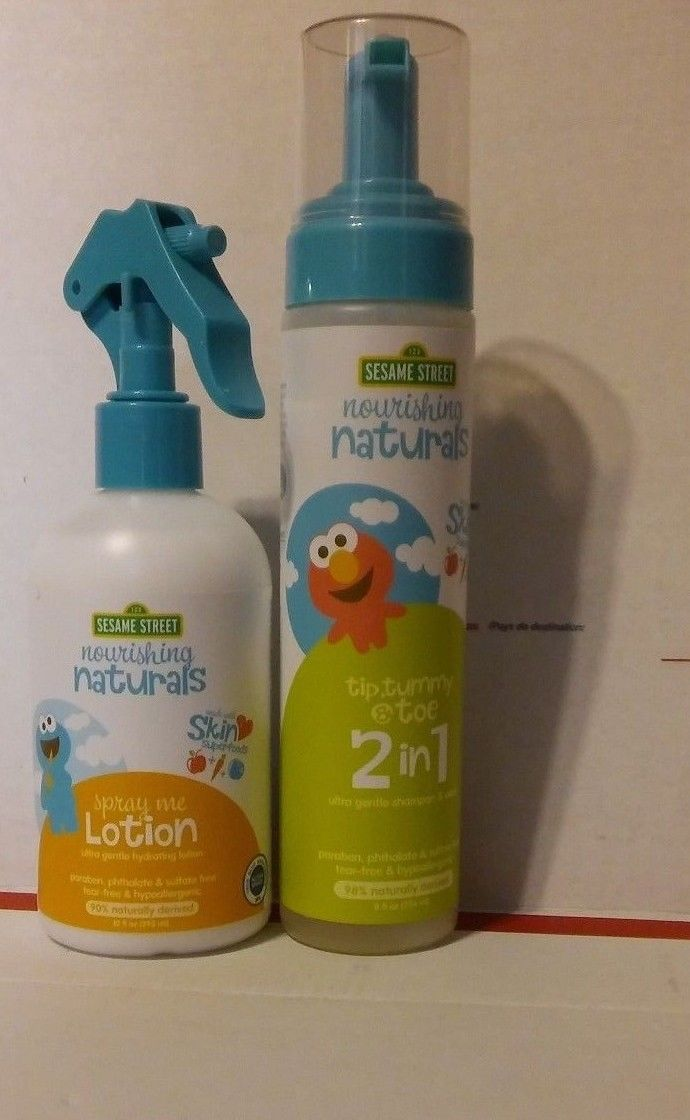 Sesame Street Nourishing Naturals Tip Tummy &Toe 2n1 8oz & Spray Me Lotion 10oz