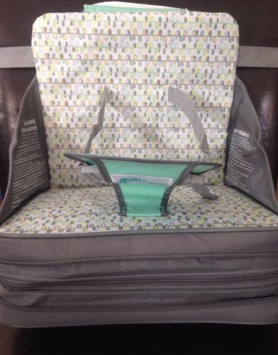 The First Years On-The-Go Booster Seat, Color Gray with Green, Yellow, White