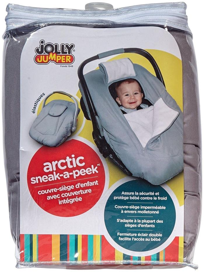 Jolly Jumper Infant Sneak-A-Peek Car Seat Cover w/Attached Blanket Gray