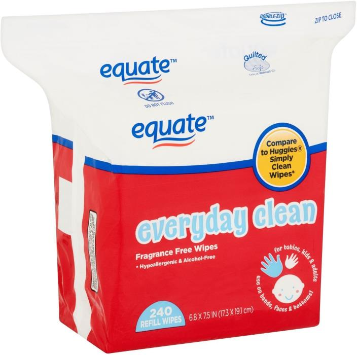 Equate Everyday Clean Baby Wipes, Fragrance Free Refills (240 Ct)