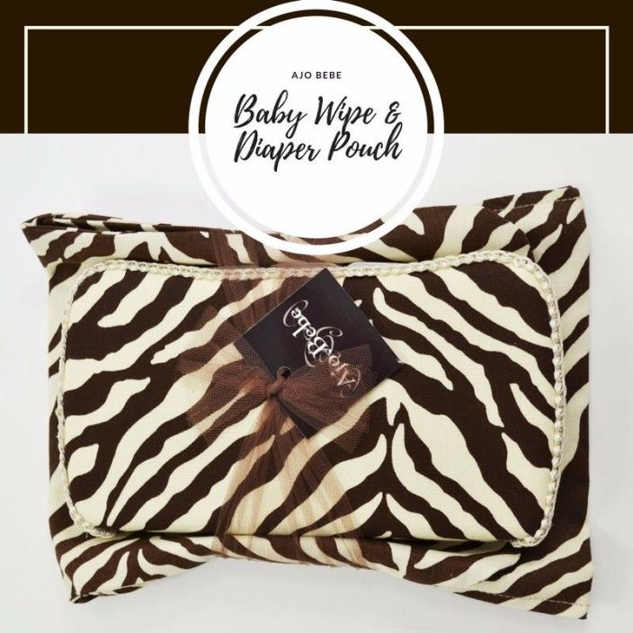 Baby Wipe Case with Diaper Pouch Ajo Bebe  Brown Cream Zebra animal Print baby