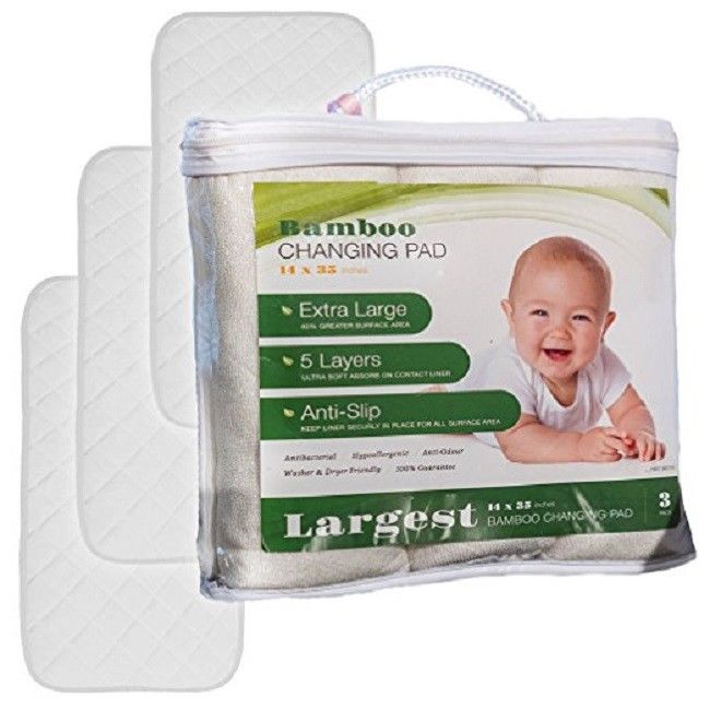 Baby Changing Pad Liners Bamboo Diaper Waterproof Hypoallergenic Non-Slip 3 Pack