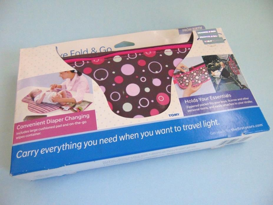 First Years Deluxe Fold And Go Diaper Changing Pad Brown Pink