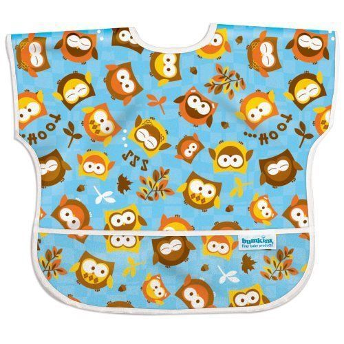 NWT Bumkins Waterproof Junior Bib Owl Baby Toddler Boy Girl